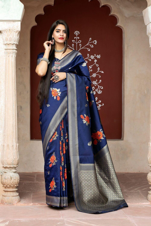 Latest Designer Blue Color Silk Saree