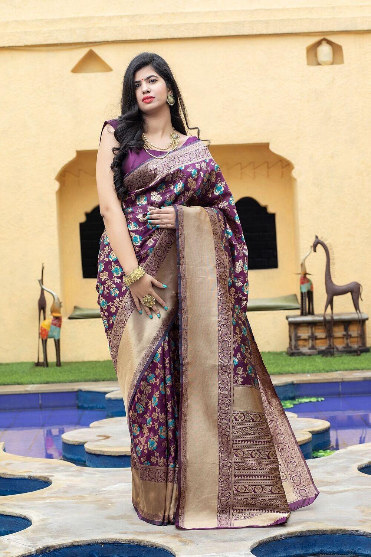 Unique Pattern Embellished Banarasi Silk Saree