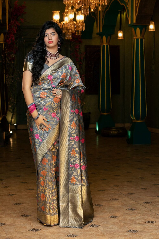 Exotic Designer Grey Color Party Wear Silk Saree
