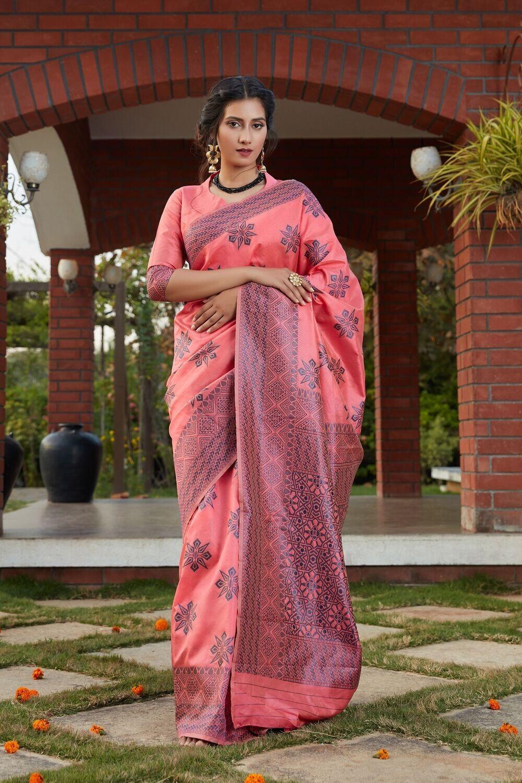 Fancy Party Wear Dark Pink Silk Saree
