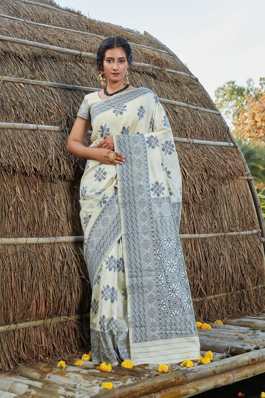 Mesmerizing Off White Color Weaving Silk saree
