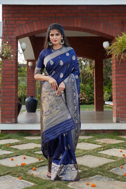 Latest Designer Royal Blue Wedding Wear Weaving Silk Saree