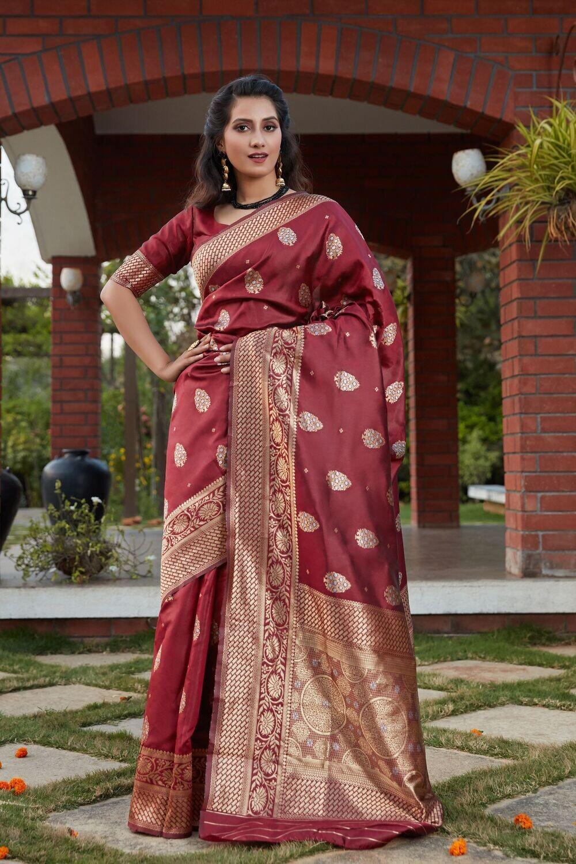 Exotic Wine Color Banarasi Silk Saree