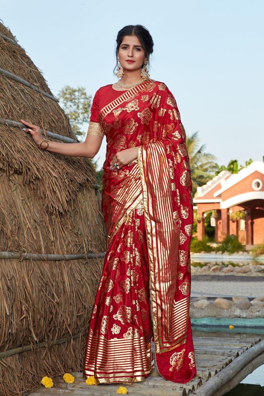 Wedding Wear Red Foil Printed Silk Saree