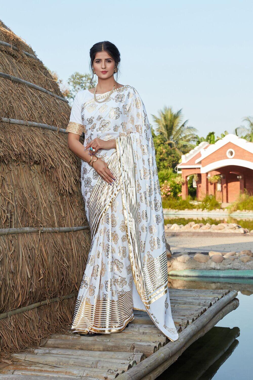 Gorgeous White Foil Printed Silk Saree