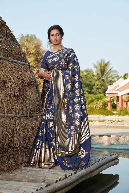 Royal Blue Fancy Printed Silk Saree