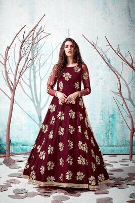 Latest Designer Festive Wear Maroon Color Butterfly Net Gown