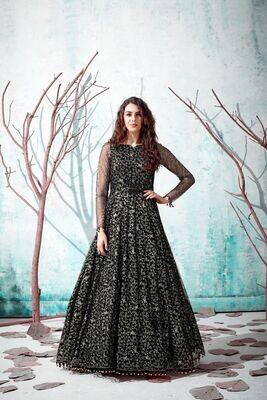 Sensational Black Color Silk Crepe Party Wear Gown