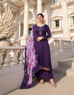 Admiring Purple Color Digital Printed Brasso Plazzo Suit