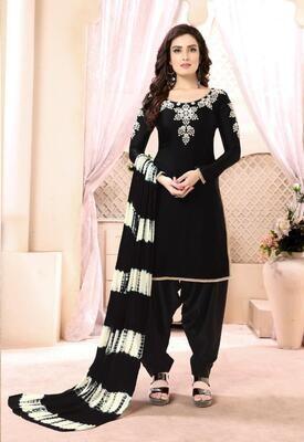 Flattering Black Color Georgette Satin Patiyala Suit