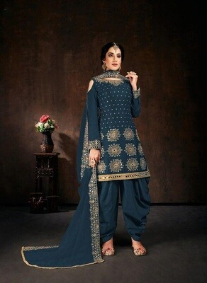 Designer Sophisticated Teal Blue Georgette Diamond Embellished Patiyala Suit