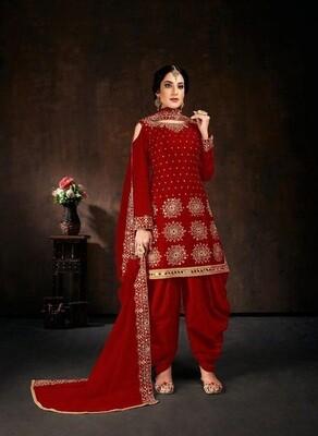 Stylish Wedding Wear Red Color Georgette Patiyala Suit