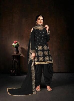 Heavy Fox Georgette Black Color Fancy Diamond Work Patiyala Suit