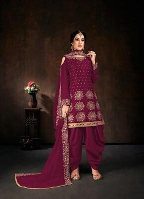Adoring Rani Color Heavy Indian Satin Patiyala Suit