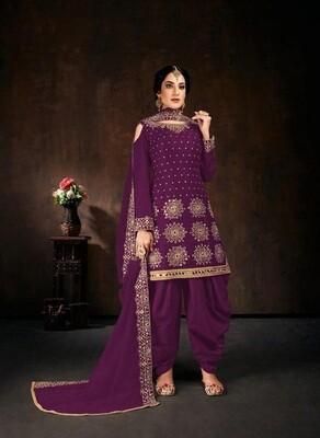 Exclusive Purple Color Fancy Embroidery Embellishment Patiyala Suit