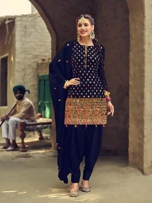 Royal Blue Latest Designer Heavy Embroidered Work Salwar Suit