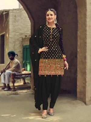 Latest Black Color Naznin Chiffon Patiyala Suit