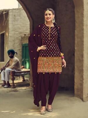Elegant Purple Color Georgette With Sequence Work Patiyala Suit