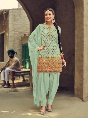 Green Heavy Embroidery With Sequence Work Patiyala Suit
