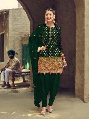 Dark Green Festive Wear Embroidery Patiyala Suit