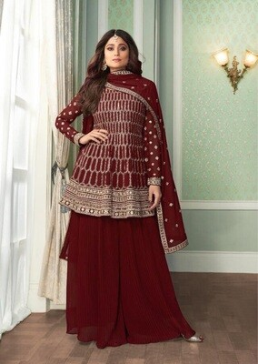 Elegant Red Color Sequence Embroidery Embellished Sharara Suit