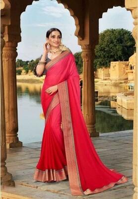 Gorgeous Wedding Wear Pink Color Gradient Saree