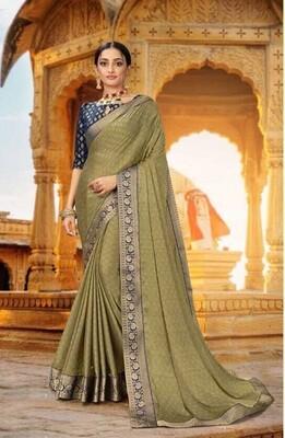Fancy Designer Mehndi Color Heavy Border Saree
