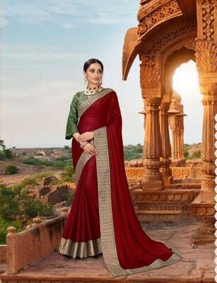 Elegant Deep Red Heavy Border Georgette Saree