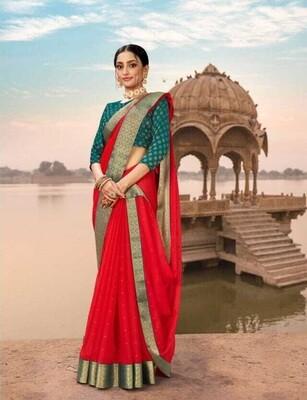 Heavy Border Wedding Wear Rani Color Saree