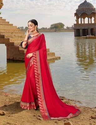 Gorgeous Red Designer Border Georgette Saree