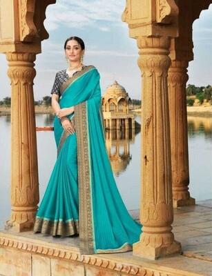 Impressive Teal Blue Woman Wear Saree
