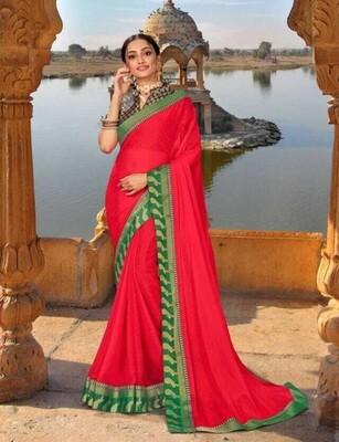 Exlusive Crimson Red Green Border Georgette Saree