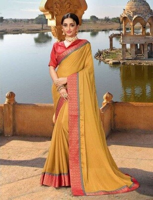 Exotic Mustard Color Designer Print Embellished Saree