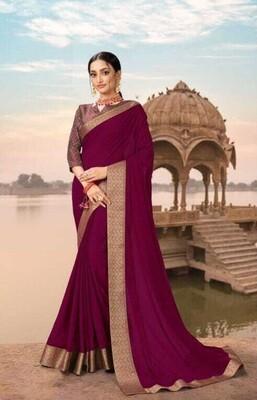 Radiant Purple Color Festive Wear Saree