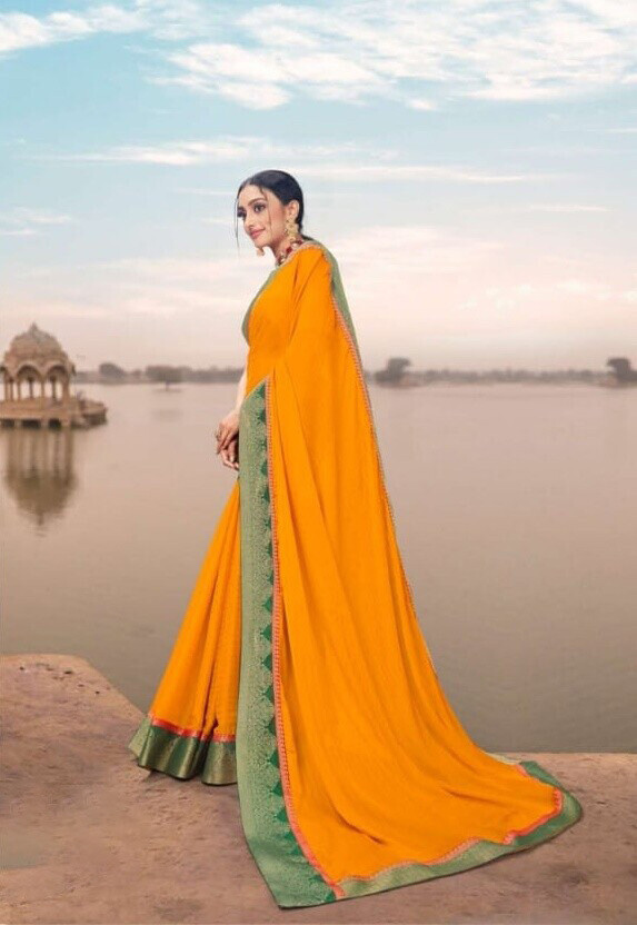 Gorgeous Canary Color Function Wear Fancy Georgette Saree