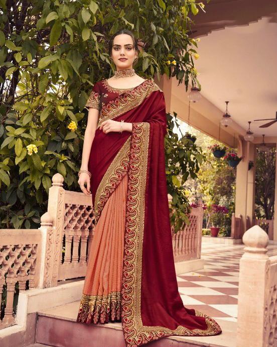 Attractive Wedding Wear Maroon Color Saree