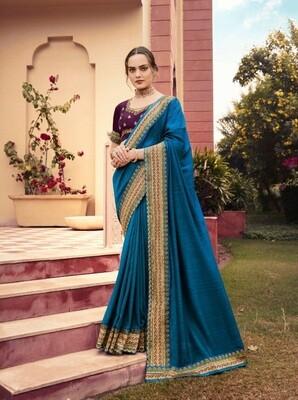 Gorgeous Blue Color Chinnon Georgette Saree