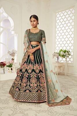 Impressive Function Wear Green Designer Velvet Lehenga Choli