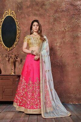 Alluring Yellow Pink Contrasting Festive Wear Lehenga Choli