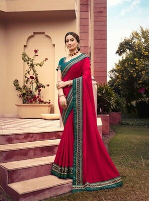 Blissful Rani Color Georgette With Print Border Saree