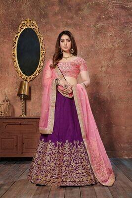 Attractive Purple Wedding Wear Sequins Embellished Lehenga Choli