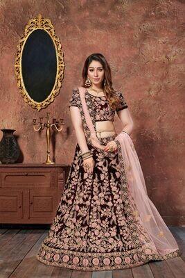 Majesty Bridal Wear Maroon Velvet Lehenga Choli