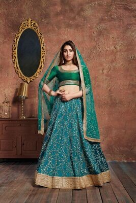 Elegant Torquoise Blue Bridesmaid Wear Zari Sequins Lehenga Choli