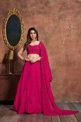 Beautiful Designer Pink Color Party Wear Lehenga Choli