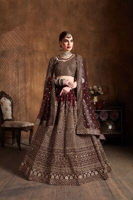 Exclusive Bridal Wear Maroon Color Heavy Raw Silk Sequins Embellished Lehenga Choli