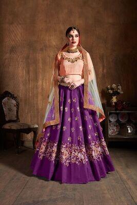 Fabulous Purple Color Raw Silk Wedding Wear Lehenga Choli