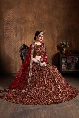 Gorgeous Red Color Heavy Codding Embroidery Work Lehenga Choli