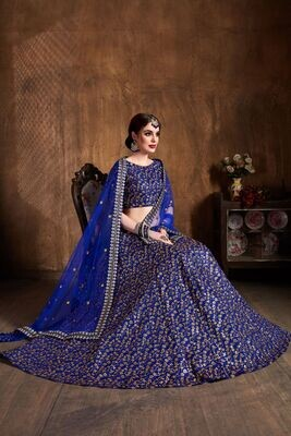 Raw Silk Engagement Lehenga in Blue with Embroidered work