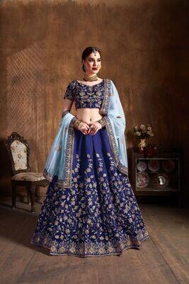 Heavy Raw Silk Bridesmaid Wear Navy Blue Lehenga Choli