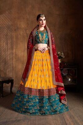 Royal Wedding Wear Yellow Color Zari Sequence Banarasi Silk Lehenga Choli